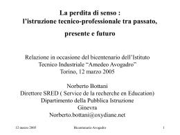 Tabelle per présentazione Avogadro, Torino