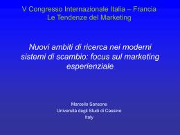 Marketing esperienziale - Università degli Studi di Cassino
