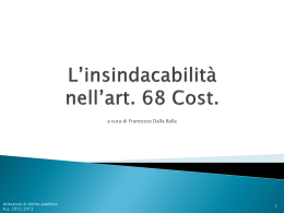 L`insindacabilità nell`art. 68 Cost.
