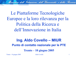 Le piattaforme europee e la loro rilevanza per l`Italia
