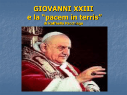 "Giovanni XXIII e la ""Pacem in terris"""