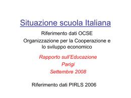 Situazione della Scuola in Italia