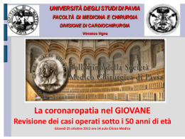 La coronaropatia nel GIOVANE.