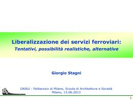 Liberalizzazione dei servizi ferroviari: tentativi