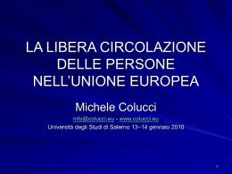 la libera circolazione delle persone nell`unione europea