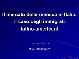 Il mercato delle rimesse in Italia: il caso degli immigrati