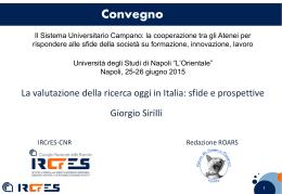 La valutazione della ricerca oggi in Italia: sfide e prospettive