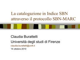 La catalogazione in Indice SBN attraverso il protocollo SBN-MARC