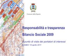 Valutazione Bilancio sociale 2009