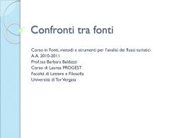 Fonti, metodi e strumenti per l`analisi dei flussi turistici