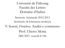 Université de Fribourg Faculté des Lettres Domaine d*Italien