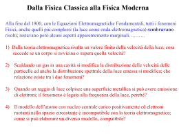 Dalla Fisica Classica alla Fisica Moderna