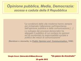 Opinione pubblica Media Democrazia