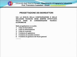 Progettazione bioreattori - Dipartimento di Ingegneria Industriale