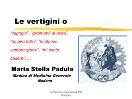 Le vertigini o - Specializzandi in Medicina Generale
