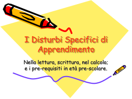 I Disturbi Specifici di Apprendimento