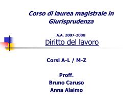 Diritto del lavoro Corso M-Z - Dipartimento di Giurisprudenza