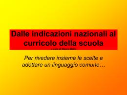 per percorso di lavoro sulle Indicazioni Nazionali per il curricolo
