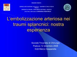 L`embolizzazione arteriosa nei traumi splancnici: nostra esperienza
