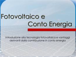 Fotovoltaico e Conto Energia