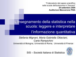 L`insegnamento della statistica nella scuola