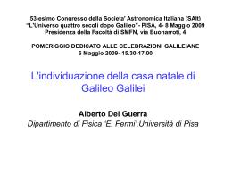 L`individuazione della casa natale di Galileo Galilei Alberto Del