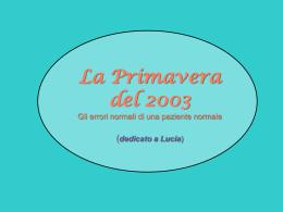 19 marzo 2003 - Dipartimento di Scienze Statistiche