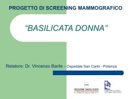 Presentazione progetto di screening mammografico `Basilicata Donna`