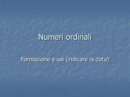 Numeri ordinali - Associazione Alfa