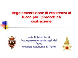 Resistenza al Fuoco prodotti da costruzione