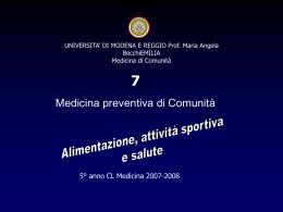 Alimentazione, Sport e Salute - Facoltà di Medicina e Chirurgia