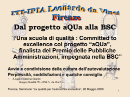 "Committed to excellence col progetto ""aQUa"""