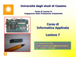Corso di Informatica Applicata Lezione 8