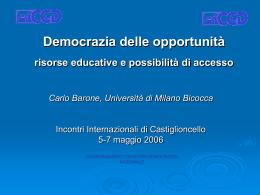 Democrazia delle opportunità risorse educative e possibilità di