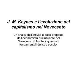 J. M. Keynes e l`evoluzione del capitalismo nel Novecento