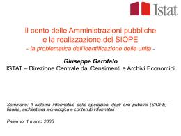 Il conto delle Amministrazioni pubbliche e la realizzazione