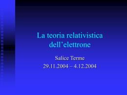 La teoria relativistica dell`elettrone