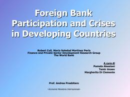 Argomentazioni a favore dell`entrata della foreign bank