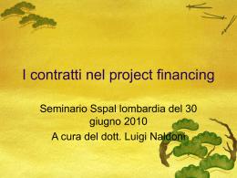 I contratti nel project financing