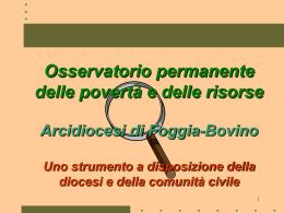 Osservatorio permanente delle povertà e delle risorse Arcidiocesi di
