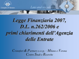 Finanziaria e collegato 1