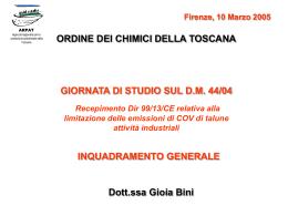 Dott.ssa Chim. Gioia Bini - Ordine dei Chimici della Toscana