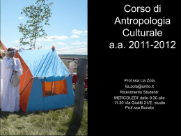 Corso di Antropologia Culturale a.a. 2011-2012