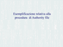 Esemplificazione relativa alla procedura di Authority File