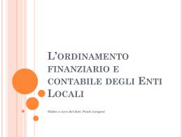 L`ordinamento finanziario e contabile degli Enti Locali