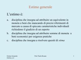 Estimo generale - Dipartimento di Ingegneria e Architettura