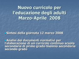 Nuovo curricolo per l`educazione degli adulti Marzo