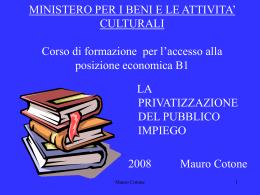 La privatizzazione del Pubblico Impiego (file formato ppt)