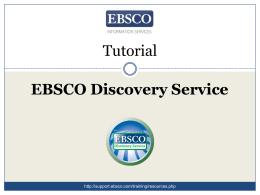 EDS Tutorial - EBSCO Support