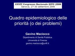 Quadro epidemiologico delle priorità (o dei problemi) - Area-c54
